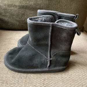 Grey Suede Toddler Boots Velcro Booties Shoes